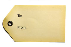 бежевая бирка бумаги подарка Стоковые Фото
