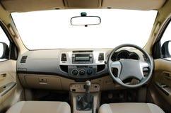 Бежевая кожаная приборная панель автомобиля Стоковое Фото