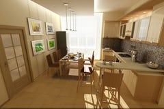 бежевая кухня Стоковые Изображения RF
