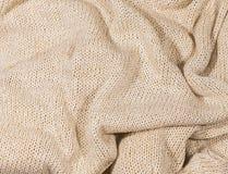 Бежевая связанная текстура ткани, Стоковые Фотографии RF
