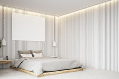 Бежевая спальня с плакатом, угол Стоковое Фото
