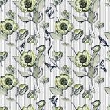 Бежевые абстрактные цветки на striped предпосылке Стоковое фото RF