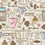 Бежевые безшовные картины с комплектом кофе, кофеваркой, булочкой иллюстрация вектора