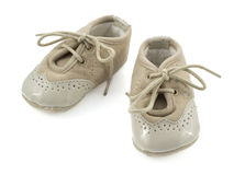 Бежевые ботинки для детей Стоковые Изображения