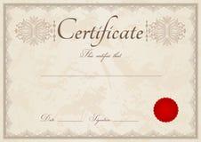 Бежевые диплом/предпосылка и граница сертификата Стоковое фото RF