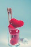 2 бежевых зубоврачебных щетки в стеклянной чашке с красными сердцами на голубой белой предпосылке изолировано фото тонизировало Л Стоковое фото RF
