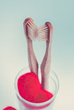 2 бежевых зубоврачебных щетки в стеклянной чашке с красными сердцами на голубой белой предпосылке изолировано фото тонизировало Л Стоковые Изображения