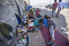 беженцы Больше чем половинны переселенцы от Сирии, но беженцы от других стран Стоковые Изображения