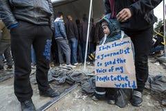 Беженцы Sirian преграженные в Idomeni Стоковая Фотография RF