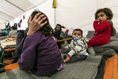 Беженцы Sirian преграженные в Idomeni Стоковые Фото
