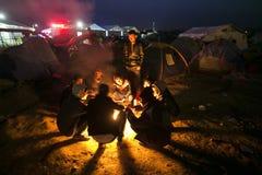 Беженцы Sirian преграженные в Idomeni Стоковое Изображение RF