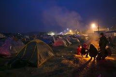 Беженцы Sirian преграженные в Idomeni Стоковое фото RF