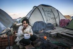 Беженцы Sirian преграженные в Idomeni Стоковые Изображения RF
