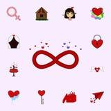 Безграничность, любовь, символ, значок дня Валентайн s Полюбите комплект значков всеобщий для сети и черни иллюстрация вектора