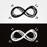 Безграничность рук-притяжки вектора. Символ безграничности, схематический, иконический, Стоковые Фото