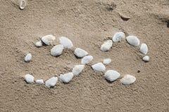 Безграничность символа выровнянная с seashells стоковое изображение