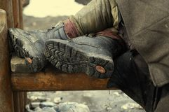 бездомная персона ног Стоковое Фото