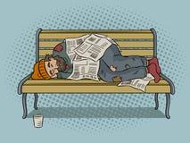Бездомный человек на векторе искусства шипучки стенда Стоковые Фото