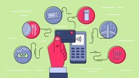 Безконтактная оплата используя кредитную карточку Стоковые Фотографии RF