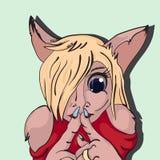 Безмолвие кота девушки меховое Стоковое Фото
