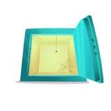 Безопасная залемь отсутствие денег Иллюстрация стиля шаржа раскрытого пустого сейфа банка также вектор иллюстрации притяжки corel Стоковые Изображения