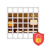 Безопасная сделка кредитной карточки Карточка банка под защитой иллюстрация штока