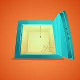 безопасное малое Иллюстрация стиля шаржа раскрытого пустого сейфа банка также вектор иллюстрации притяжки corel Стоковая Фотография RF