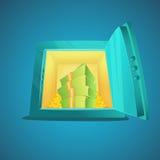 безопасное малое Иллюстрация стиля шаржа раскрытого сейфа банка с деньгами и монетками внутрь также вектор иллюстрации притяжки c Стоковые Фотографии RF