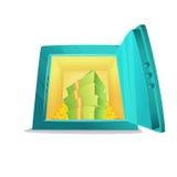 безопасное малое Иллюстрация стиля шаржа раскрытого сейфа банка с деньгами и монетками внутрь также вектор иллюстрации притяжки c Стоковое Фото