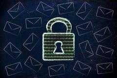 Безопасность данных интернета: замок и почта бинарного кода Стоковые Изображения RF
