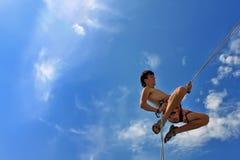 безопасность веревочки утеса альпиниста Стоковые Изображения