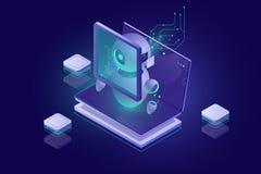 Безопасность защиты данных, просматривать malware, обнаружение вируса, удостоверение подлинности и утверждение биометрическим пар иллюстрация штока