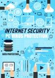 Безопасность интернета, технология защиты данных Стоковое Изображение