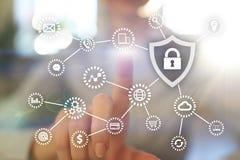 Безопасность кибер Защита данных Уединение информации Значок Padlock на виртуальном экране иллюстрация штока