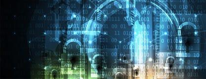 Безопасность кибер и предохранение от информации или сети Будущее техническое иллюстрация вектора