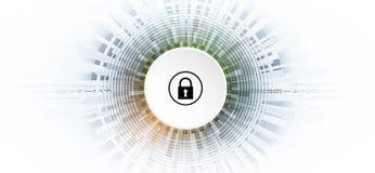 Безопасность кибер и предохранение от информации или сети Будущее техническое иллюстрация штока