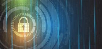 Безопасность кибер и предохранение от информации или сети Будущее техническое Стоковое Изображение RF