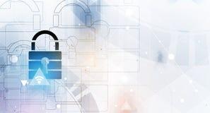 Безопасность кибер и предохранение от информации или сети Будущее техническое Стоковая Фотография