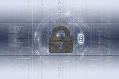 Безопасность кибер и свет конфиденциальности данных - синь Стоковые Изображения RF