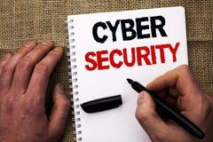 Безопасность кибер сочинительства текста почерка Концепция знача онлайн предохранение вирусов нападений шифрует информацию написа Стоковые Фотографии RF