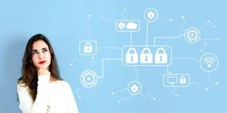 Безопасность кибер с молодой женщиной стоковое фото rf