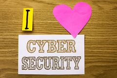 Безопасность кибер текста сочинительства слова Концепция дела для онлайн предохранения вирусов нападений шифрует информацию напис Стоковые Изображения