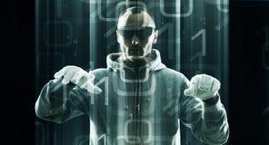 Безопасность кибер, admin защищает сеть компании Стоковое Фото