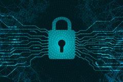 Безопасность кибер Padlock в форме процессора Информационная защита Злодеяние на интернете Антивирус против нападений на da иллюстрация вектора