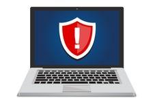 Безопасность компьютерной системы под угрозой иллюстрация штока