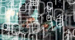 Безопасность мира кибер, прорубленный компьютер в кибер атаке Стоковая Фотография RF