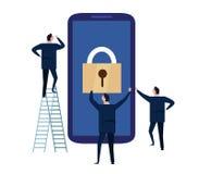 Безопасность мобильного устройства Принципиальная схема обеспеченностью Cyber защищая персональная информация и данные с smartpho иллюстрация вектора