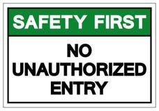 Безопасность прежде всего отсутствие несанкционированного знака символа входа, иллюстрации вектора, изолята на белом ярлыке предп иллюстрация штока