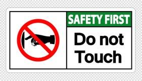 безопасность прежде всего символа не касается ярлыку знака на прозрачной предпосылке бесплатная иллюстрация