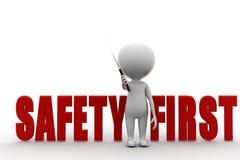 безопасность прежде всего человека 3d Стоковая Фотография